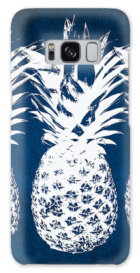 Indigo Galaxy S8 Case featuring the painting Indigo and White Pineapples by Linda Woods