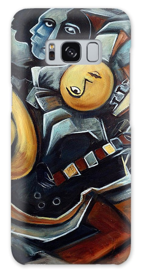 Cubism Galaxy Case featuring the painting Indigo Blues by Valerie Vescovi