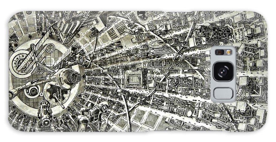 Cityscape Galaxy Case featuring the drawing Inside Orbital City by Murphy Elliott