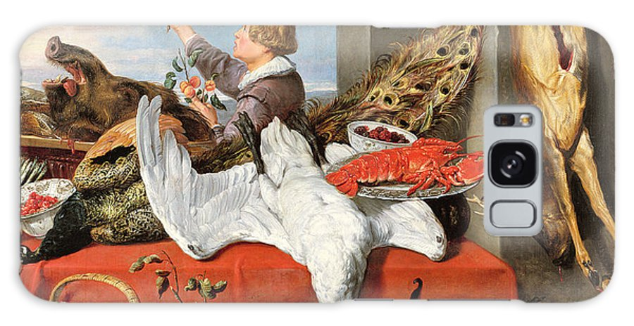 Male Galaxy S8 Case featuring the photograph Interior Of An Office, Or Still Life With Game, Poultry And Fruit, C.1635 Oil On Canvas by Frans Snyders or Snijders