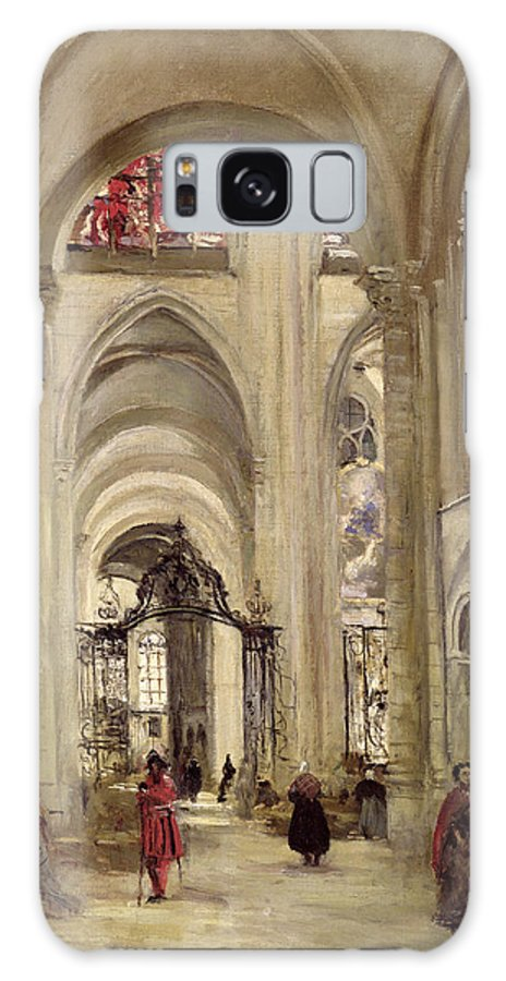 Interieur De La Cathedrale Galaxy S8 Case featuring the painting Interior Of The Cathedral Of St. Etienne, Sens by Jean Baptiste Camille Corot