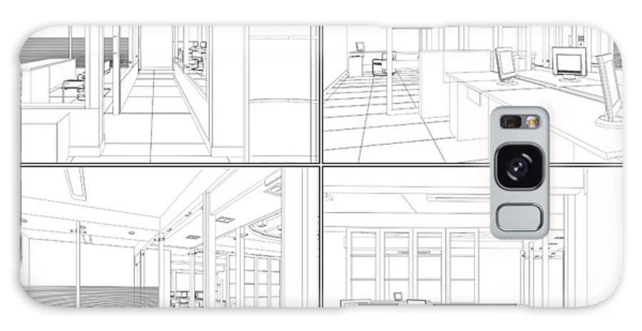 Interior Galaxy S8 Case featuring the digital art Interior Office Rooms by Nenad Cerovic
