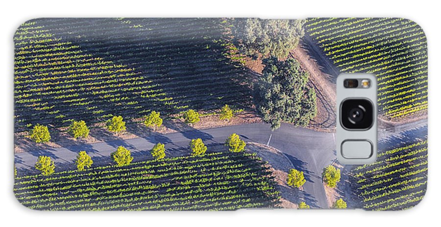 Napa Valley California Winery Wineries Grape Vine Vines Tree Trees Road Roads Street Streets Row Rows Vineyard Vineyards Landscape Landscapes Galaxy S8 Case featuring the photograph Intersection by Bob Phillips