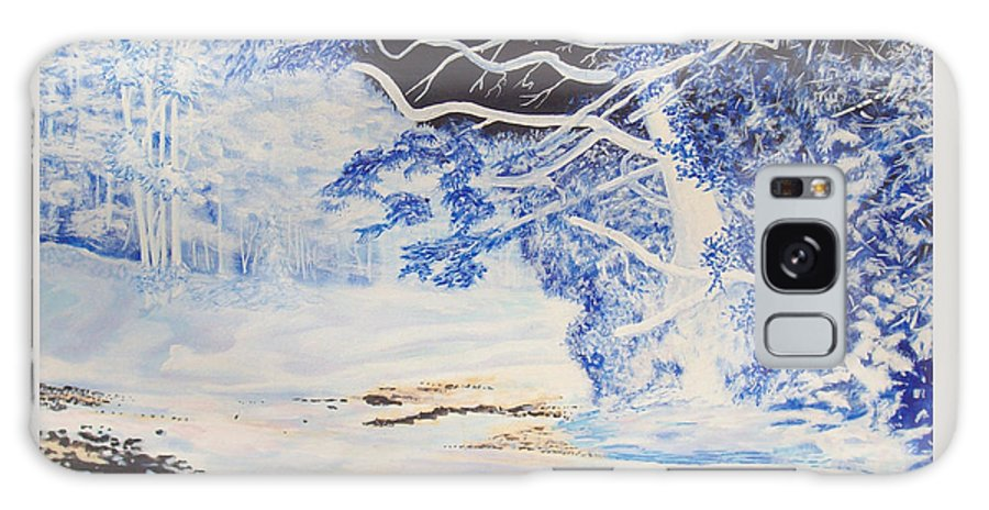 Inverted Lights Trawscoed Aberystwyth Galaxy S8 Case featuring the painting Inverted Lights At Trawscoed Aberystwyth Welsh Landscape Abstract Art by Edward McNaught-Davis