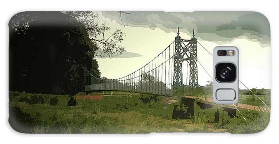 Iron Footbridge Galaxy S8 Case featuring the drawing Iron Footbridge Near Doveridge, Elegant Suspension Bridge by Litz Collection