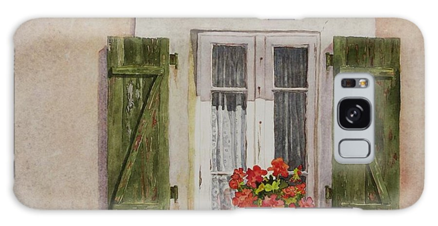 Watercolor Galaxy Case featuring the painting Irvillac Window by Mary Ellen Mueller Legault