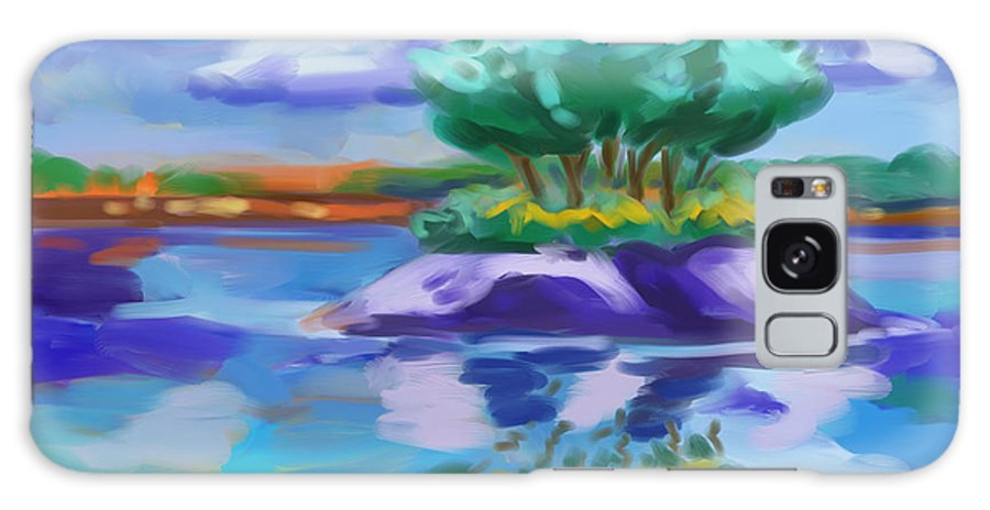 Island On The Lake Galaxy S8 Case featuring the painting Island On The Lake by Tim Gilliland
