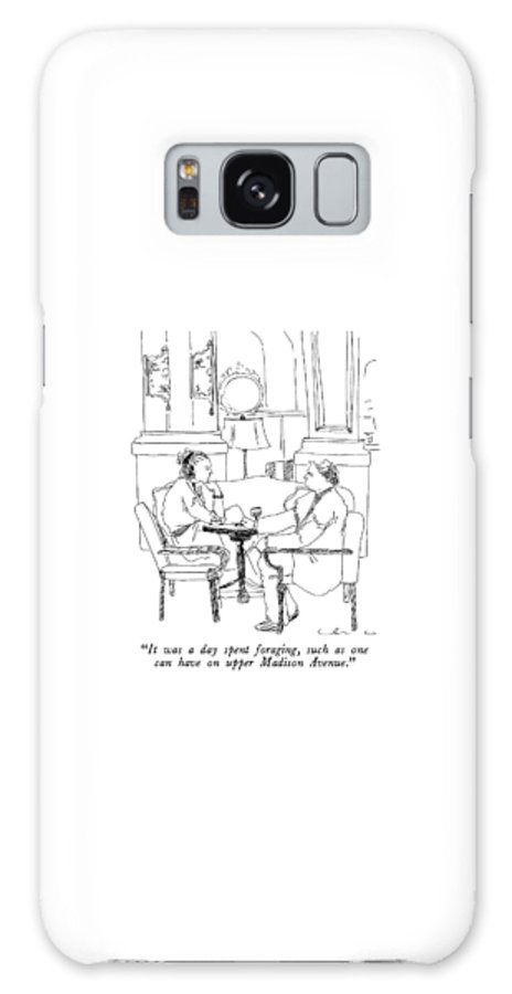 Woman To Man In Fancy Restaurant.  Urban Galaxy Case featuring the drawing It Was A Day Spent Foraging by Richard Cline