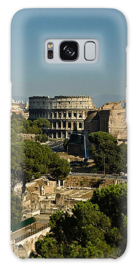 Rome Galaxy S8 Case featuring the photograph Italian Landscape With The Colosseum Rome Italy by Marianne Campolongo