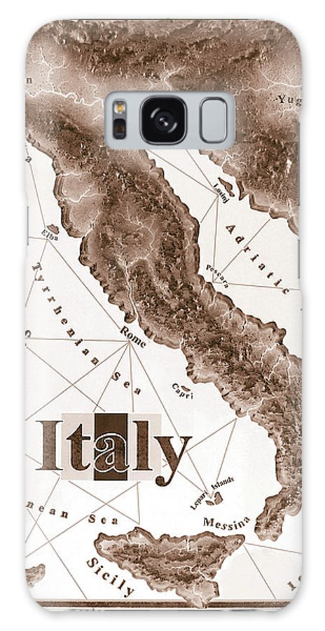 Italian Galaxy Case featuring the mixed media Italian Map by Curtiss Shaffer