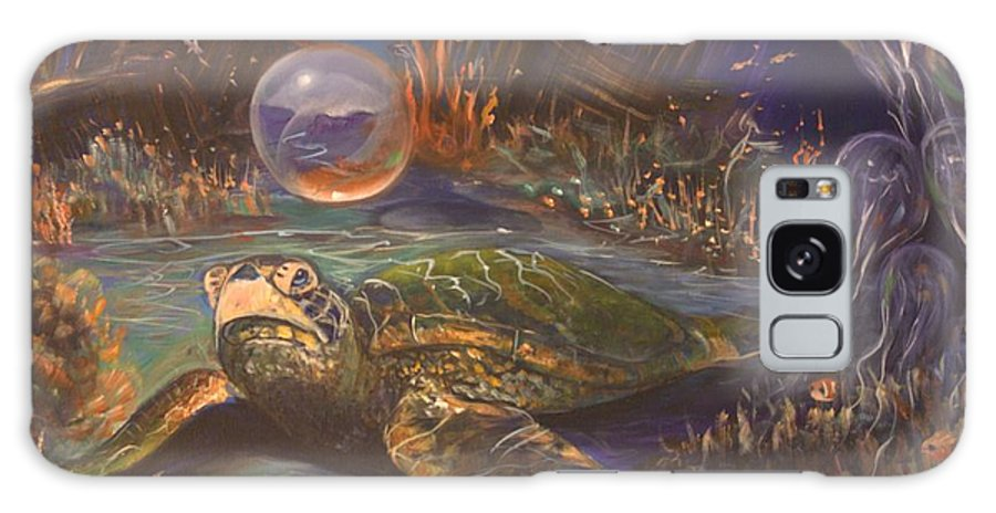 Underwater Galaxy S8 Case featuring the painting It's Getting Crowded by Sue Stake