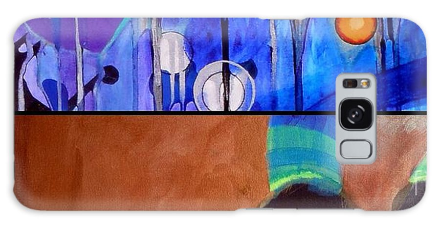 Diptych Galaxy S8 Case featuring the painting j HOT 12 by Marlene Burns