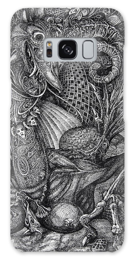 Surrealism Galaxy S8 Case featuring the drawing Jabberwocky by Otto Rapp