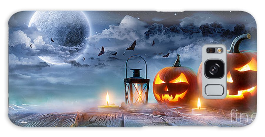 Symbol Galaxy S8 Case featuring the photograph Jack O' Lanterns Glowing At Moonlight by Romolo Tavani