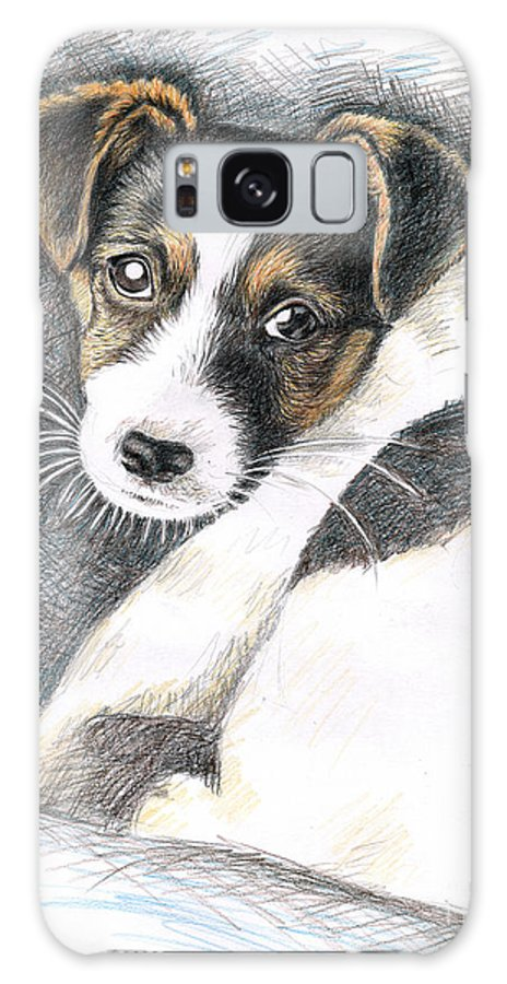 Dog Galaxy Case featuring the drawing Jack Russell Puppy by Nicole Zeug