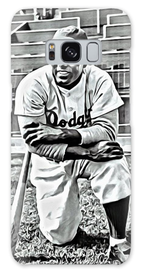 African Americans Galaxy S8 Case featuring the painting Jackie Robinson Painting by Florian Rodarte