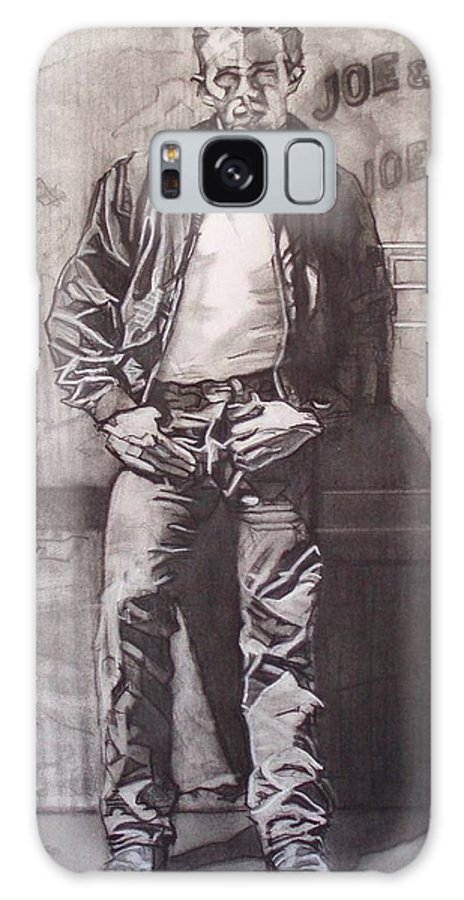 Charcoal; Icon;americana;cool;window;sidewalk;street;rock And Roll;jeans;t-shirt;diner;movie Star Galaxy S8 Case featuring the drawing James Dean by Sean Connolly