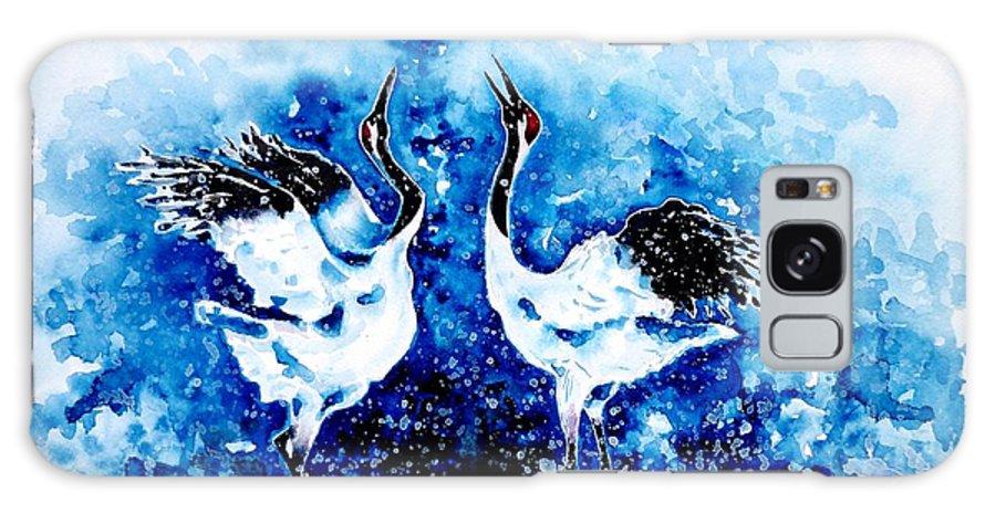 Japanese Galaxy S8 Case featuring the painting Japanese Cranes by Zaira Dzhaubaeva