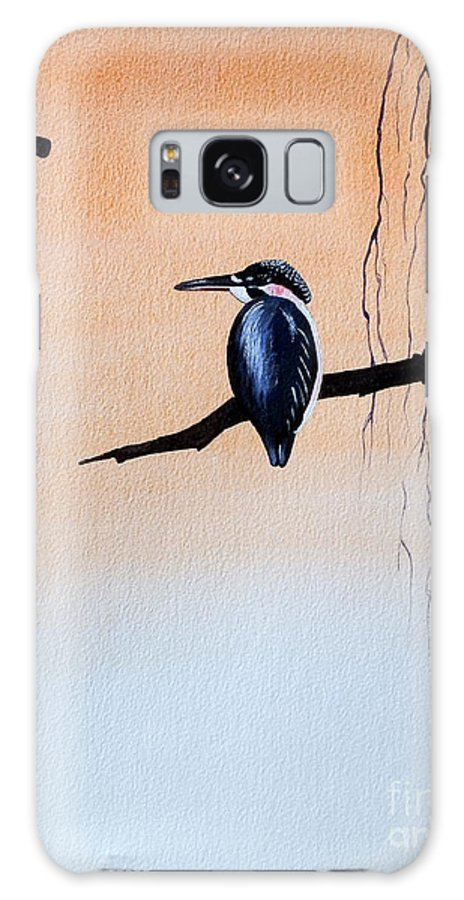 Tattoo .japanese Galaxy S8 Case featuring the painting Japanese Kawasemi Kingfisher Feng Shui Earth by Gordon Lavender