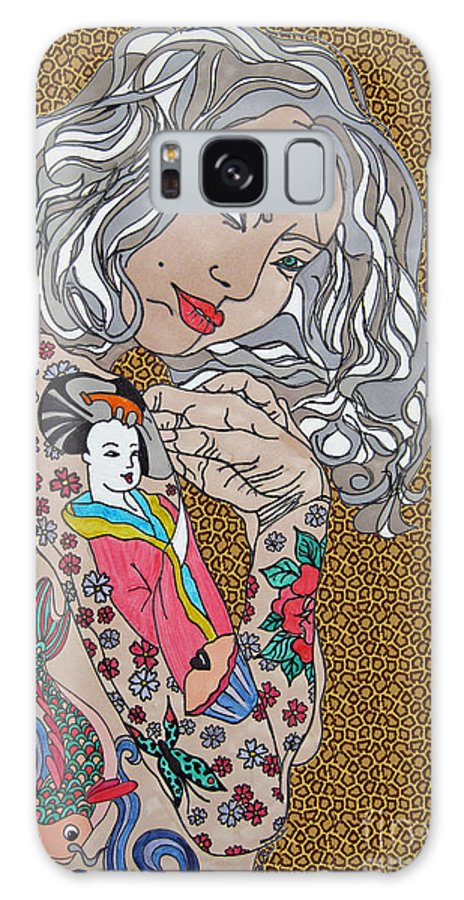 Chica Galaxy S8 Case featuring the drawing Japanese Tat Girl Leopard by Karen Larter