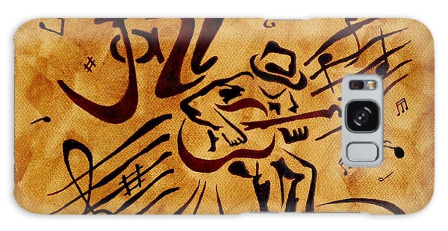 Guitar Singer Coffee Painting Abstract Galaxy S8 Case featuring the painting Jazz Abstract Coffee Painting by Georgeta Blanaru
