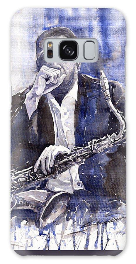 Jazz Galaxy Case featuring the painting Jazz Saxophonist John Coltrane Blue by Yuriy Shevchuk