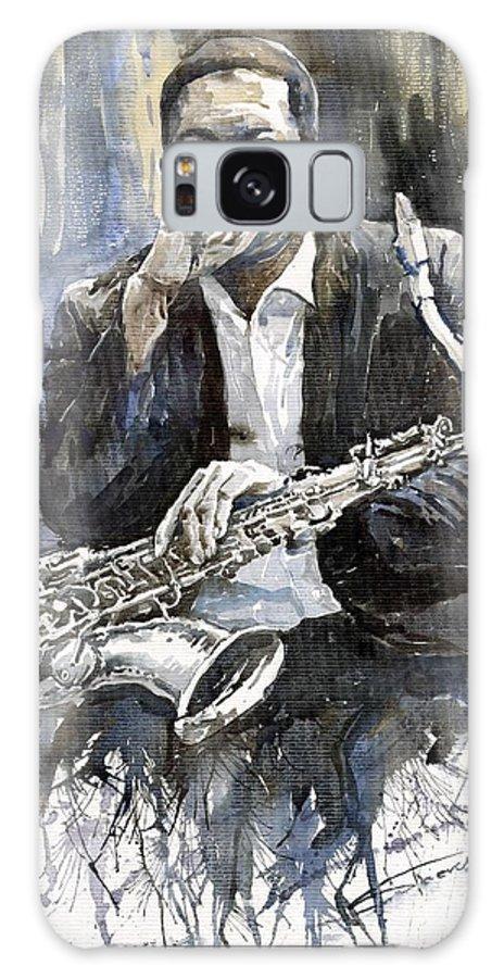 Jazz Galaxy Case featuring the painting Jazz Saxophonist John Coltrane yellow by Yuriy Shevchuk