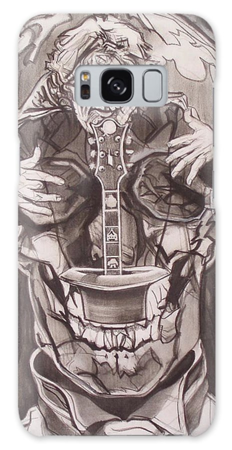 Charcoal; Skull;guitar;music;magic;mystic;wizard;cape;hat;shades;grateful Dead;deadheads Galaxy Case featuring the drawing Jerry Garcia . . Magic Is What We Do - Music Is How We Do It by Sean Connolly