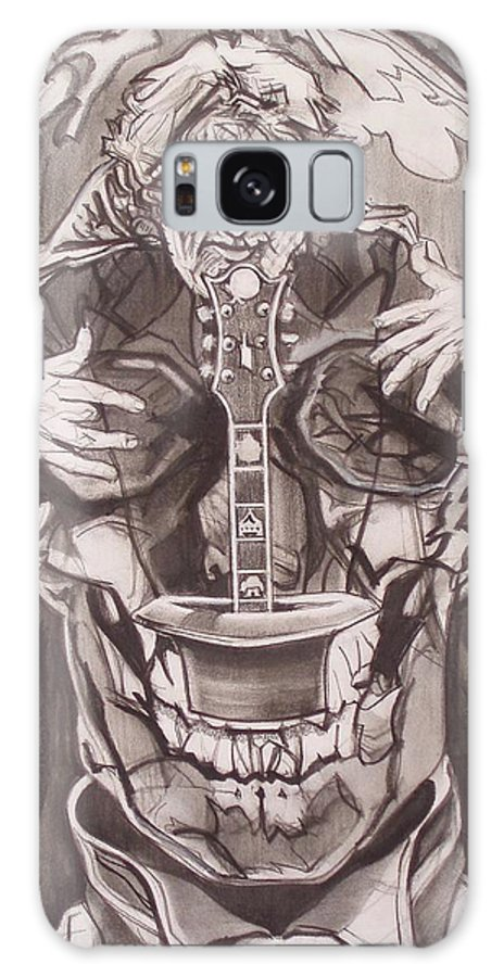Charcoal; Skull;guitar;music;magic;mystic;wizard;cape;hat;shades;grateful Dead;deadheads Galaxy S8 Case featuring the drawing Jerry Garcia . . Magic Is What We Do - Music Is How We Do It by Sean Connolly