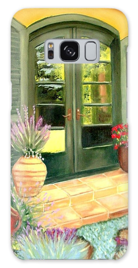 Shutters Galaxy Case featuring the painting Jill's Patio by Laurie Morgan