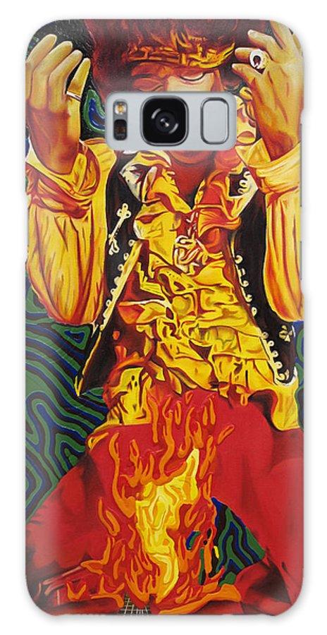 Jimi Hendrix Galaxy S8 Case featuring the painting Jimi Hendrix Fire by Joshua Morton