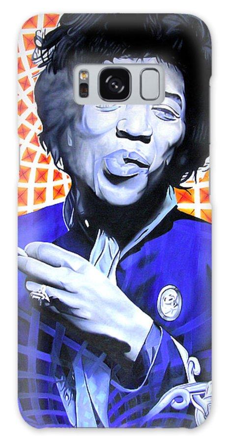 Jimi Hendrix Galaxy S8 Case featuring the painting Jimi Hendrix-orange And Blue by Joshua Morton