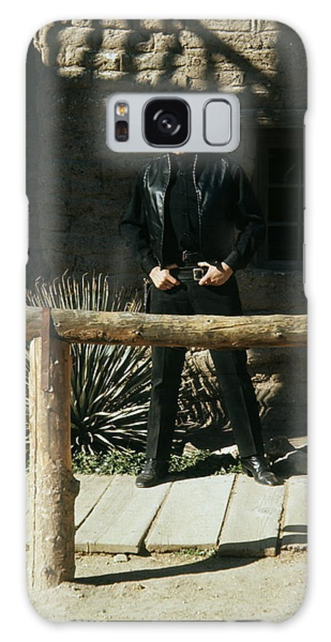 Johnny Cash Gunfighter Hitching Post Old Tucson Az Boardwalk Adobe Walls A Gunfight Galaxy S8 Case featuring the photograph Johnny Cash Gunfighter Hitching Post Old Tucson Arizona 1971 by David Lee Guss