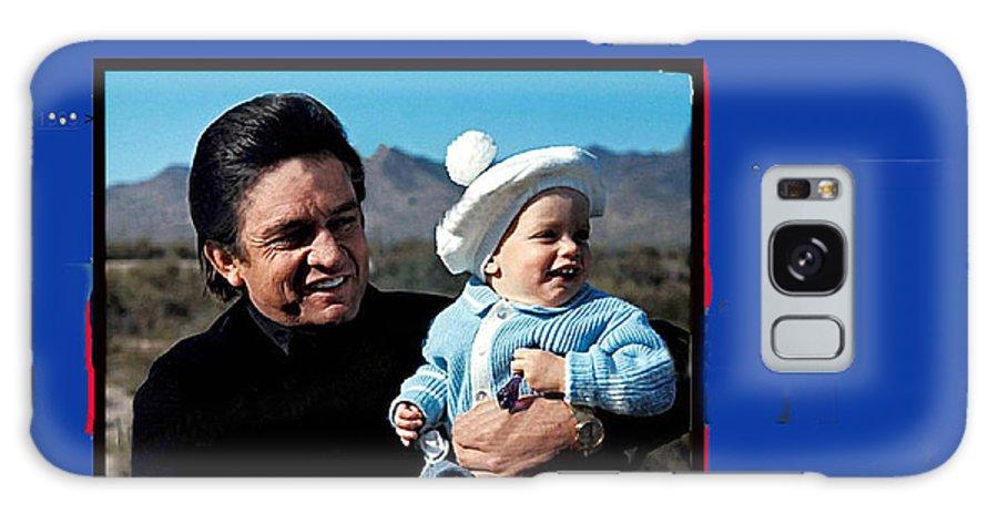 Johnny Cash John Carter Cash Old Tucson Az Holding Infant Displaying Toddler Galaxy S8 Case featuring the photograph Johnny Cash John Carter Cash Old Tucson Arizona 1971 by David Lee Guss