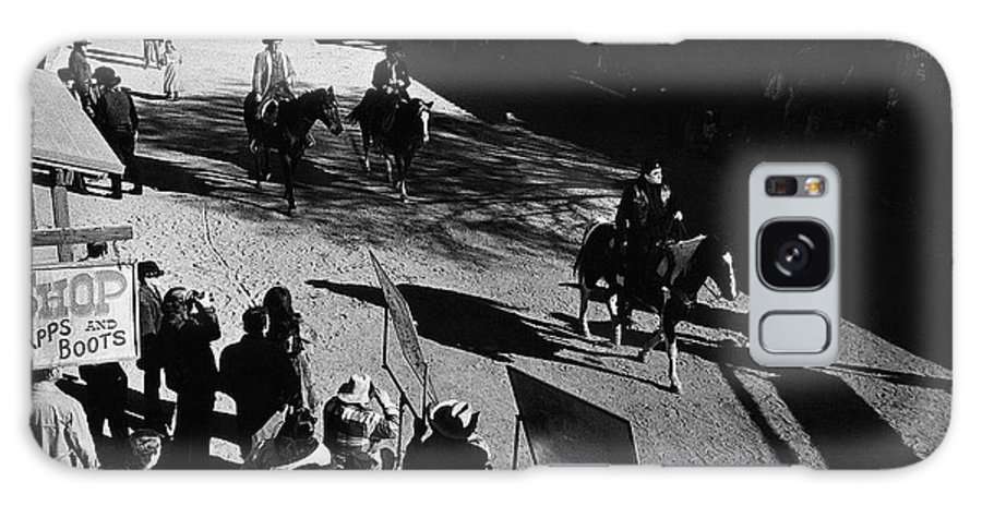 Johnny Cash Riding Horse Filming Promo Main Street Old Tucson Az A Gunfight Kirk Douglas A Boy Named Sue San Quentin Prison Concert Recorded By Granada Television Great Britain Galaxy S8 Case featuring the photograph Johnny Cash Riding Horse Filming Promo Main Street Old Tucson Arizona 1971 by David Lee Guss