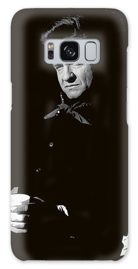 Johnny Cash Sitting With Cup Old Tucson Az Man In Black Photographer Frank Bez Us Postal Service Music Icons Series Galaxy S8 Case featuring the photograph Johnny Cash Sitting With Cup Old Tucson Arizona 1971-2009 by David Lee Guss