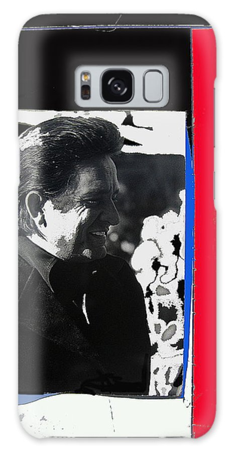 Johnny Cash Smiling Collage Surrealism Old Tucson Arizona Galaxy S8 Case featuring the photograph Johnny Cash Smiling Collage 1971-2008 by David Lee Guss