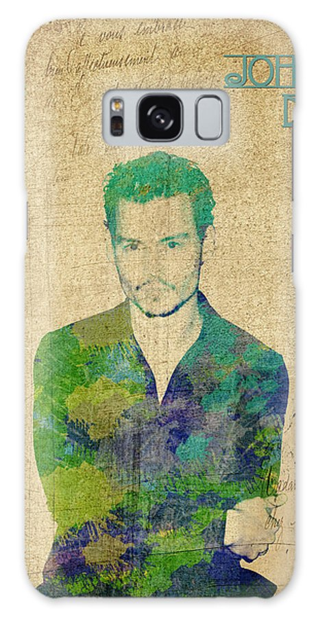 Feature Galaxy S8 Case featuring the digital art Johnny Depp Watercolor by Paulette B Wright