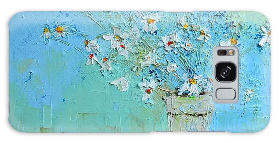 Floral Still Life Galaxy S8 Case featuring the painting Joyful Daisies, Flowers, Modern Impressionistic Art Palette Knife Oil Painting by Patricia Awapara