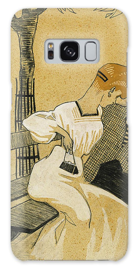 Juan Galaxy S8 Case featuring the drawing Juan Gris, Man And Woman On Bench, Spanish by Quint Lox