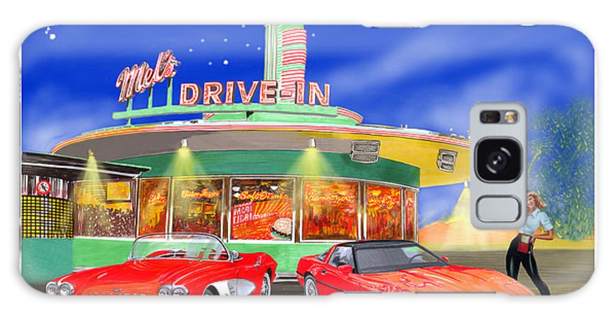 A Pair Of Red Corvettes Painted By Jack Pumphrey Parked At The Next Generation Mel's Drive-in Galaxy S8 Case featuring the painting Julies Corvettes by Jack Pumphrey