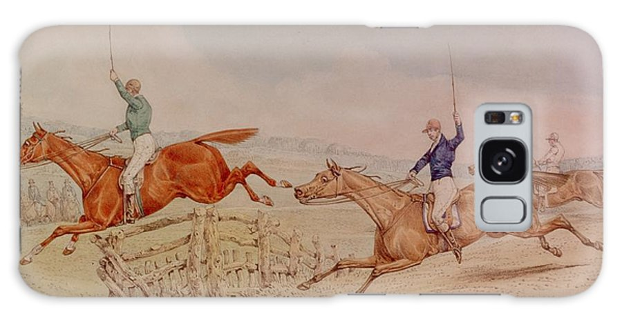 Racing; Horseracing; Horse; Jockey; Rider; Steeplechase; Steeplechasing; Field; Victorian; Jump; Racehorse Galaxy S8 Case featuring the painting Jumping A Fence by Henry Thomas Alken