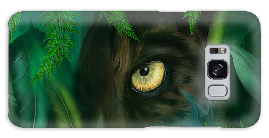 Panther Galaxy S8 Case featuring the mixed media Jungle Eyes - Panther by Carol Cavalaris