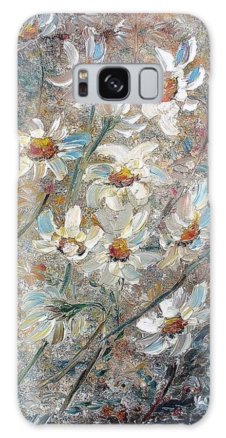Daisies Painting Abstract Flower Painting Botanical Painting Bloom Greeting Card Painting Galaxy Case featuring the painting Just Dasies by Karin Dawn Kelshall- Best