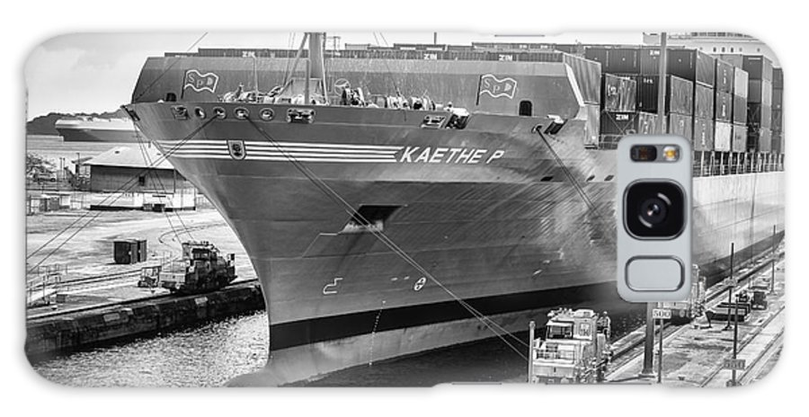 Kaethe P Container Ship Galaxy S8 Case featuring the photograph Kaethe P Container Ship Panama Canal Monochrome by Rene Triay Photography