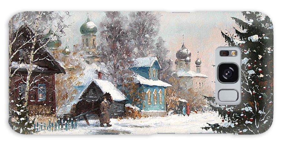 Winter Galaxy S8 Case featuring the painting Kargopol. Onezhskaya Lane by Alexander Alexandrovsky