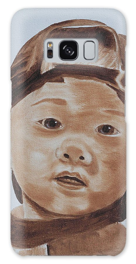 Portraits Galaxy S8 Case featuring the painting Kids In Hats - Young Baseball Fan by Kathie Camara