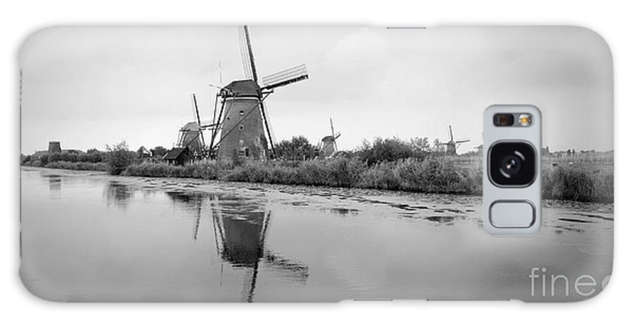 Holland Galaxy S8 Case featuring the photograph Kinderdijk In Black And White by Carol Groenen