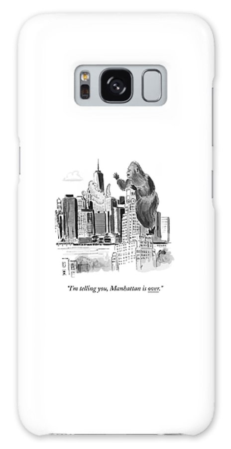 Godzilla Galaxy S8 Case featuring the drawing King Kong, Atop The Williamsburgh Savings Bank by Emily Flake