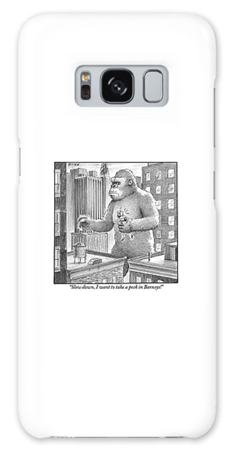 King Galaxy S8 Case featuring the drawing King Kong Stands In A Large City by Harry Bliss